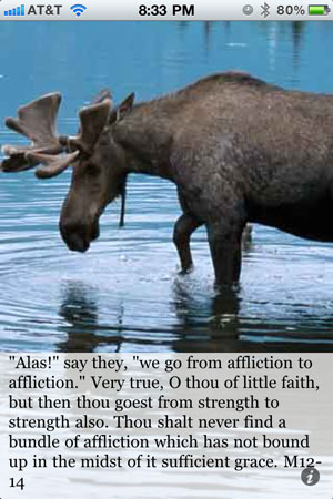 """Alas!"" say they, ""we go from affliction to affliction."" Very true, O thou of little faith, but then thou goest from strength to strength also. Thou shalt never find a bundle of affliction which has not bound up in the midst of it sufficient grace. M12-14"