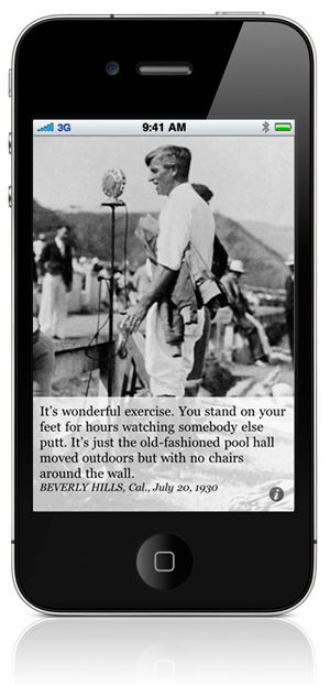It's wonderful exercise. You stand on your feet for hours watching somebody else putt. It's just the old-fashioned pool hall moved outdoors but with no chairs around the wall. BEVERLY HILLS, Cal., July 20, 1930