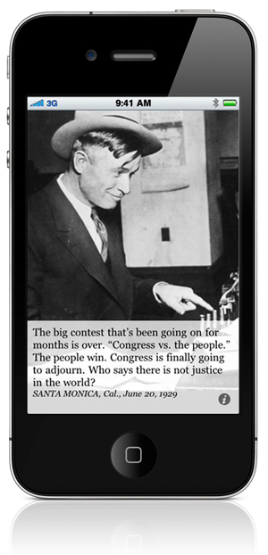 "The big contest that's been going on for months is over. ""Congress vs. the people."" The people win. Congress is finally going to adjourn. Who says there is not justice in the world? SANTA MONICA, Cal., June 20, 1929"