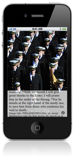 Psalm 109:30 With my mouth I will give great thanks to the LORD; I will praise him in the midst of the throng. 31 For he stands at the right hand of the needy one, to save him from those who condemn his soul to death. Image info: PHILADELPHIA (Dec. 12, 2009) Midshipmen take the field during the march on at the 110th Army-Navy college football game at Lincoln Financial Field in Philadelphia. (U.S. Navy photo by Damon J. Moritz/Released)