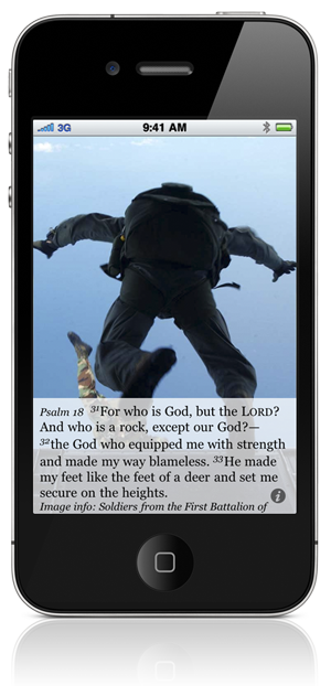 Psalm 18:31 For who is God, but the LORD? And who is a rock, except our God?— 32 the God who equipped me with strength and made my way blameless. 33 He made my feet like the feet of a deer and set me secure on the heights. Image info: Soldiers from the First Battalion of First Special Operations Airborne unit on Torii Station, Okinawa, Japan, perform High Altitude, Low Opening (HALO) jumps out of a CH-46E assigned to Marine Medium Helicopter Squadron Two Six Two (HMM-262). HMM-262 is assigned to Marine Corps Air Station Futenma in Okinawa, Japan. - Official US Navy photo by PH3 (NAC) Kaitlyn Rae Vargo.
